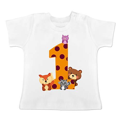 Geburtstag Baby - 1. Geburtstag Waldtiere - 12/18 Monate - Weiß - Geschenke zum 1 Geburtstag - BZ02 - Baby T-Shirt Kurzarm