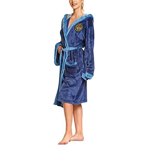 Elbenwald Harry Potter Bademantel mit Kapuze mit großem Ravenclaw Wappen auf dem Rücken und aufgesetzten Taschen für Damen und Herren blau 110 cm