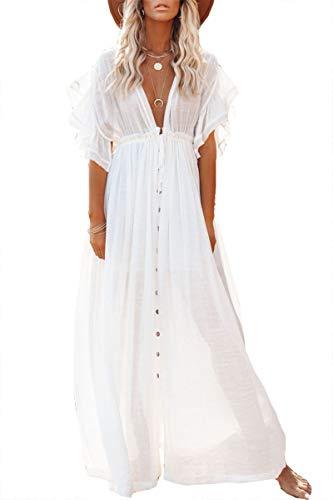 L-Peach Ropa de Dormir Caftán para Mujer Kimono Bikini Cover Ups Vestido de Playa Pareos Batas