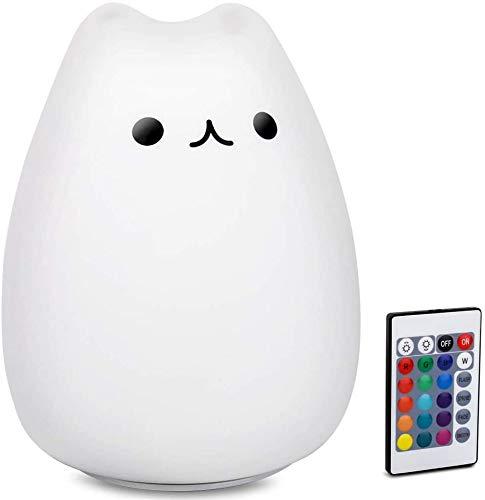 Kinder Nachtlicht Kinder Katze Lampe, Fernbedienung Dimmbar Licht mit 16 RGB Farbe und 4 Beleuchtungsmodi, USB Wiederaufladbare Lampe für Baby & Kleinkinder