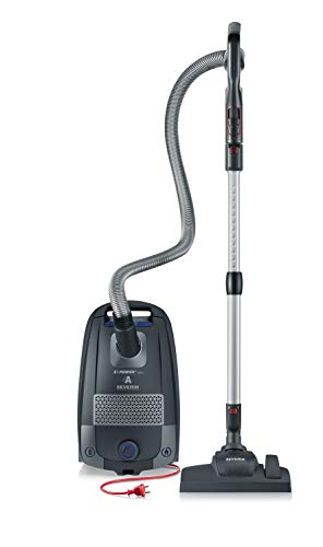 Severin BC 7049 - Aspiradora de suelo con bolsa, gran radio de acción, cabezal Soft Sound, doble conexión clic, empuñadura Ergo-comfort, filtro HEPA 14
