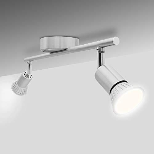 National Electronics Deckenstrahler 2-Flammig GU10 3,5W 250 Lumen SMD LED Deckenlampe AC 230V 120° Deckenleuchte warmweiß