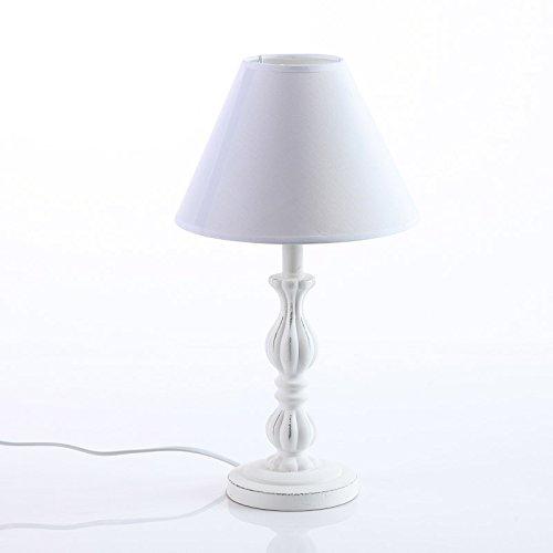 DiKasa Home Lampada da Tavolo, Legno, Bianco, 22x22x41 cm