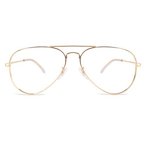 CGID Nicht Verschreibungspflichtige Pilot Klare Brille Frauen Männer Speicher Metall UV Schutz Klare Linse Brille Goldrahmen P25