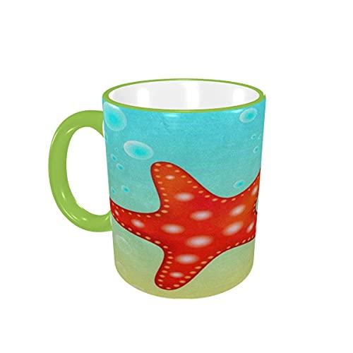 Taza de café, Amarillo, Rojo, Estrella de mar, Playa, océano, Tazas de café, Tazas de cerámica con Asas para Bebidas Calientes, café con Leche, Taza de té, Regalos de café, 12 oz,Orange