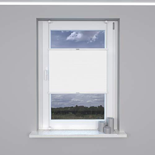 Market-Alley Plissee Klemmfix ohne Bohren Sonnenschutz Plisseerollo Jalousie Lichtdurchlässig und Blickdicht für Fenster & Tür (Weiß, 80x120cm, BxH)