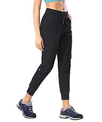 CRZ YOGA Women's Hiking Pants Lightweight Quick Dry Drawstring Joggers with Pockets Elastic Waist Travel Pull on Pants Black Small