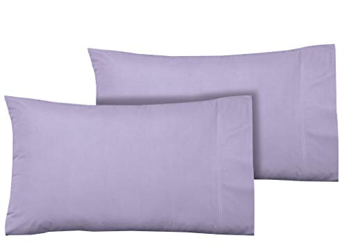 100% Cotton Sateen Pillowcase Set, 400 Thread Count Long Staple Combed Cotton, Soft & Smooth 2 Piece Set, Hotel Quality, Oeko-TEX Certified - (Standard Pillowcase, Lavender) - by Boston Linen Co.