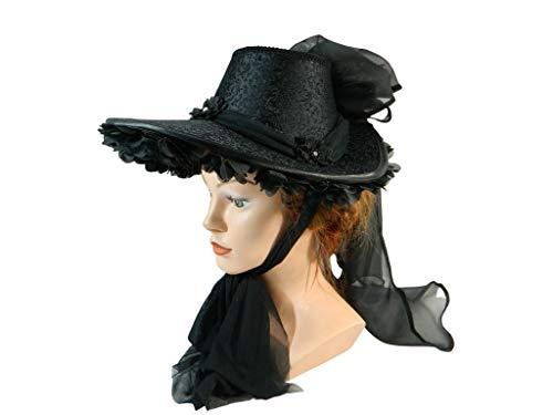Schute schwarz Bonnet Haube Damenhut Western Steampunk Civil War Biedermeier Hut