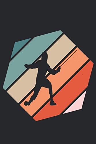 Fencing Retro: A5 Liniertes Notizbuch auf 120 Seiten - Fechten Notizheft | Geschenkidee für Florett, Säbel und Degen Freunde, Vereine und Mannschaften
