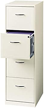 18 Deep Light Duty 4 Drawer Metal Letter File Cabinet in Pearl White