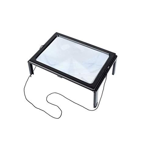 Vidrio de Vidrio con luz LED, Lupa Espejo Grande Lupa de Mesa de Lectura Espejo agrandado Herramienta Lupa para Lectura Adecuado para Lectura, Lupa de joyería, WA