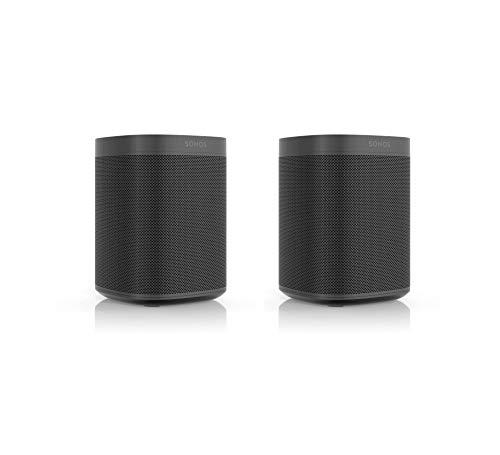 Sonos One SL Smart Speaker | 2-Raum-Set (Kraftvoller Sound, WLAN Streaming mit Multiroom und App Steuerung sowie AirPlay2) - Zwei Speaker für unbegrenztes Musikstreaming (schwarz)