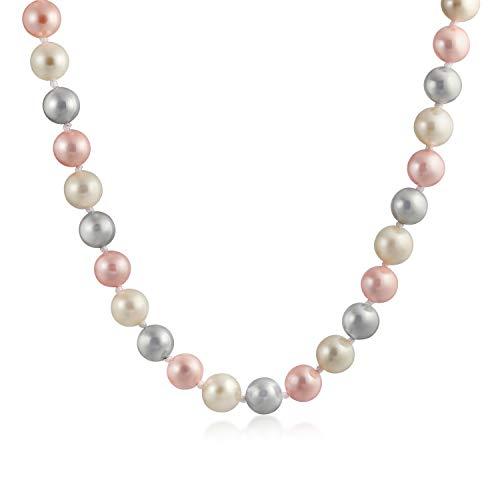 Bling Jewelry Classica Collana Liscia 10MM Rosa Pallido Bianco Grigio Tri Multicolore Annodato a Mano Collana di Tre Fili di Perle simulate per Le Donne 18 Pollici