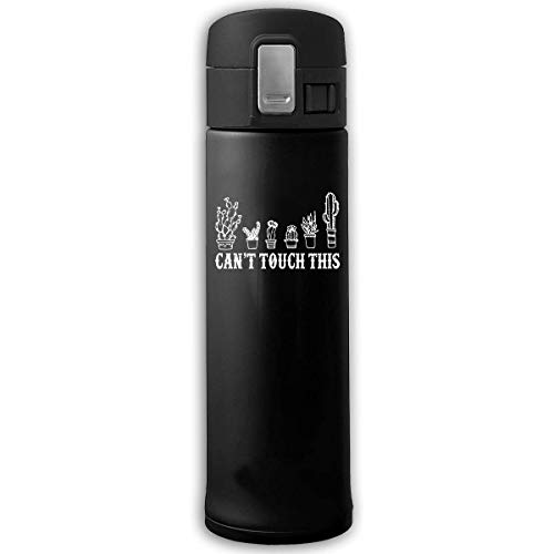 Stainless Steel Vacuum Cup Can't Touch This Cactus Sports Drinking Bottle with Bounce Cover Black