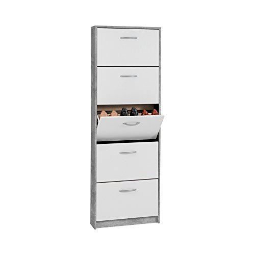 FMD furniture Schuhkipper, Spanplatte, Beton LA/Weiß, ca. 58,5 x 168,3 x 17