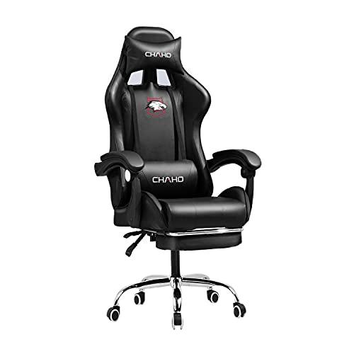 Sedia da gaming da ufficio con poggiatesta e cuscino lombare, sedia ergonomica girevole con poggiapiedi, in pelle PU, regolabile fino a 150 kg, colore nero