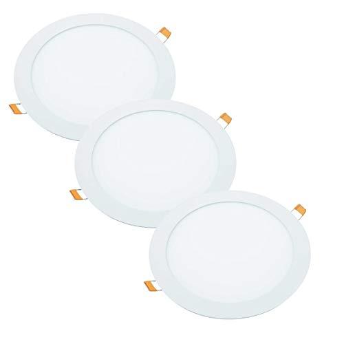 JANDEI - 3x Downlight LED 18W Redondo Plano De Empotrar, Aluminio Aro Blanco Mate, Luz Blanca Fría 6000K, Para Hueco De 200-205mm Blanco, Medida 220mm [Clase de eficiencia energética A] (6000K)