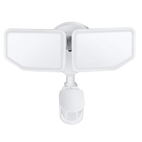 Oeegoo LED Außenleuchte Mit Bewegungsmelder, 30W 2800LM LED Strahler Außen Einstellbar, 360° Erfassungswinkel Doppelkopf Außenbeleuchtung, IP65 Aussenstrahler Als Flutlicht Oder Wandleuchte 6500K