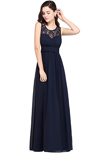 Damen 2017 Elegant Ärmellos Ballkleid Spitze Abendkleid Festkleid lang Navy Blau 34