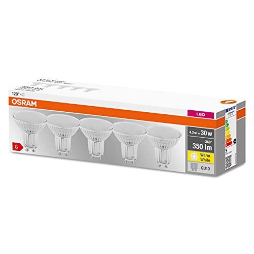 Osram Lampada LED con riflettore, Attacco: GU10, Warm White, 2700 K, 4,30 W, sostituzione per 50 W Reflector lamp, not relevant, LED BASE PAR16 ,Confezione da 5