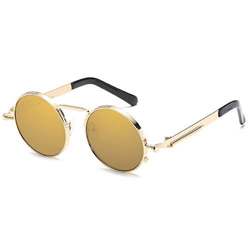 Kennifer Occhiali da sole polarizzati moda classica rotondo, occhiali da sole polarizzati stile vintage Steampunk Occhiali da sole retrò protezione UV400 montatura matel