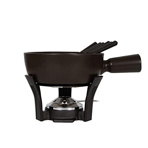 Boska Fondueset Nero/Fonduepan met 6 vorken/Gietijzeren onderstel/Vaatwasserbestendige pan/Zwart / 1 L
