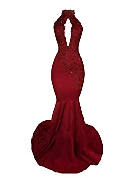 Sexy High Neck Backless Long Mermaid Prom Dresses Beaded Appliques Lace Evening Dresses for Women 2018