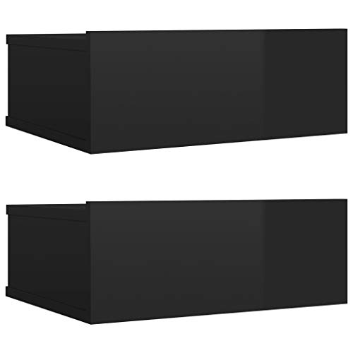 vidaXL 2X Mesita de Noche Flotantes Aglomerado Hogar Elegantes Clásicas Modernas Prácticas Duraderas Resistentes Funcionales Negro Brillo 40x30x15cm