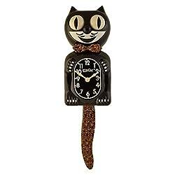 Kit Cat Klock Large Leopard Bow and Tail Black (15.5″ high) Wall Clocks