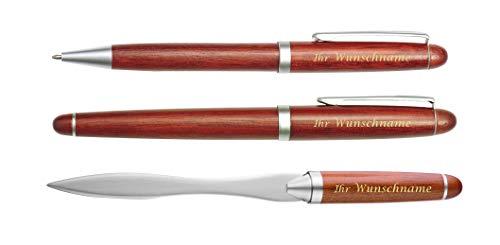 hochwertiges Holz-Schreibset mit Gravur / bestehend aus Kugelschreiber, Brieföffner, Füller