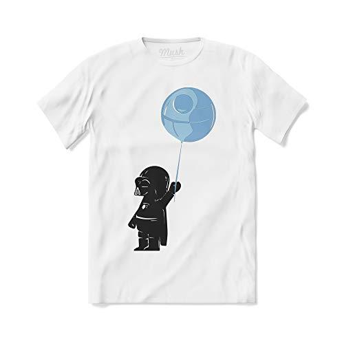 MUSH T-Shirt Banksy Baby Darth Vader - Funny Street Art - 100% Cotone Organico, M-Uomo, Bianco
