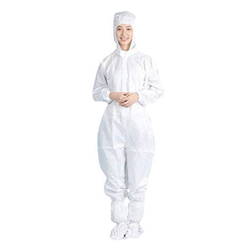 Egsve Unisex Disposable Protective Isolation Clothing Anti-Static Waterproof Anti-Fog, Men and Women Disposable Protective Coveralls Hooded Overalls (White, XXXXL)