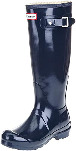 Hunter Original Gloss Tall Navy Womens Wellington Boots Size 7 B(M) US