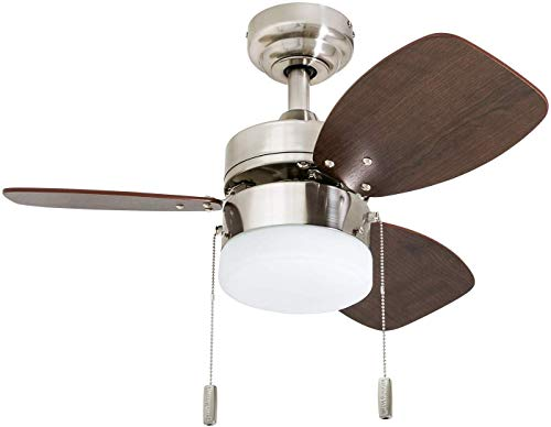 "Honeywell Ceiling Fans 50601-01 Ocean Breeze Contemporary, 30"" LED Frosted, Light Oak/Satin Finish Blades, Brushed…"