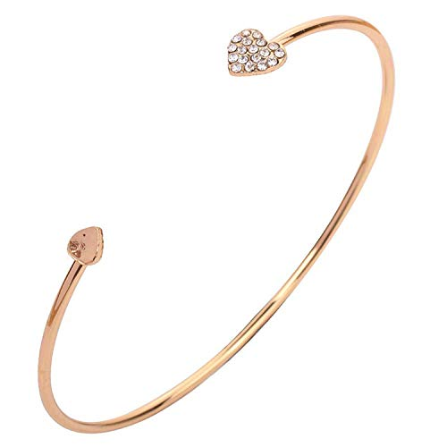 Daawqee Mujer Pulsera/Brazalete, Adjustable Crystal Double Heart Bow Bilezik Cuff Opening Bracelet Hot Women Jewelry Gift Mujer Pulseras Gold-Color