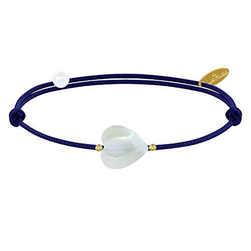 Les Poulettes Bijoux - Bracelet Petit Coeur de Nacre et Perle Plaqué Or - Classics - Bleu Navy
