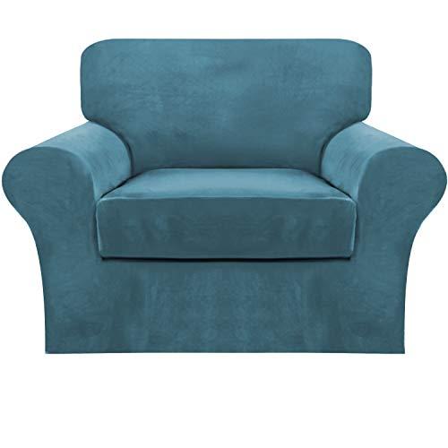 Funda para sofá de FantasDecor con funda elástica para sofá o sofá de terciopelo, con parte inferior elástica para muebles para mascotas
