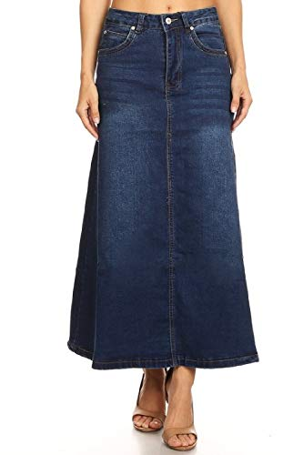 Women's Juniors Mid Rise A-Line Long Jeans Maxi Denim Skirt in Dark Blue Size XL