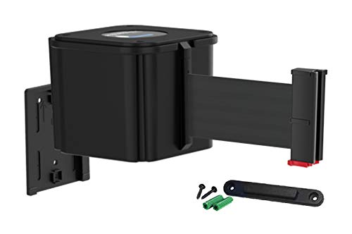 Visiontron WM412 Retractable Belt Wall Mounted Smooth Black Crowd Control Barrier and Receiving End, 15' Black Belt