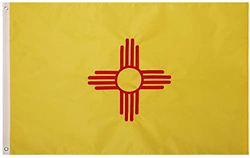 Cascade Point Flags State of New Mexiko Nylonflagge, Bestickt, Oxford-210D, strapazierfähig, langlebig, mit 4 Nähten Lebendige Farben und farbecht. Flagge New Mexico, 91 x 152 cm