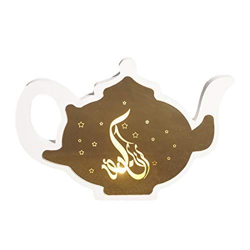 VENTDOUCE Ramadan Laterne, LED Warmweiß 3D Holographisches Licht Vintage-Stil Mubarak Eid Ramadan Islamische Inneneinrichtung Party Festival Licht für Hochzeit Herzstück oder Ramadan Dekorationen