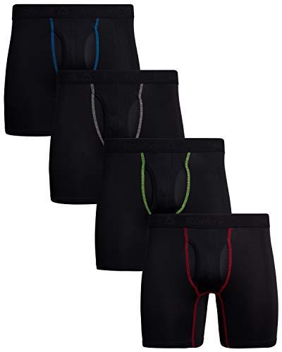 Reebok Men\'s 4 Pack Performance Boxer Briefs with Comfort Pouch (Black/Black/Black/Black, Large)'