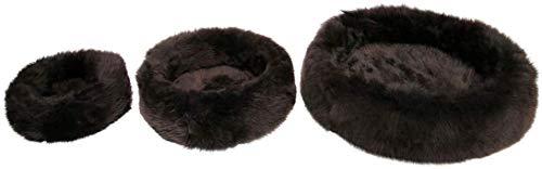 Dierenbed BRUIN lange wol verschillende maten hondenbed hondenmand kattenmand kattenmand slaapkamer 100% Merino schapenvacht, Mittel Ø 60 cm