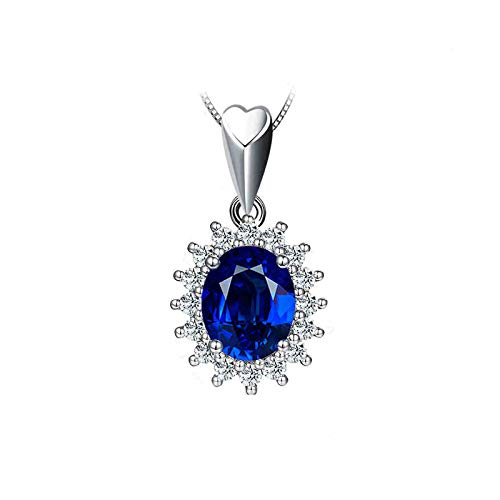 Aartoil Mujer oro blanco 18 quilates (750) ovalada Blue White Sapphire Diamond