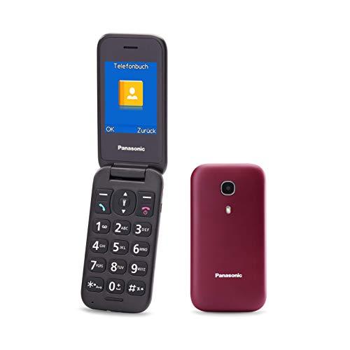 Panasonic KX-TU400EXR Telefono Cellulare ad Utilizzo Facilitato, Pulsanti Grandi Retroilluminati, Ampio Display da 2,4 , Batteria a Lunga Durata, Tasto per Chiamata Prioritaria con Vivavoce, Bordeaux