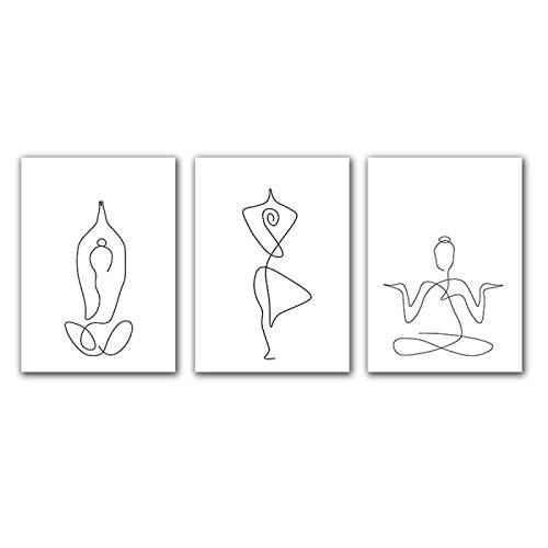 Sunglade Strichzeichnungen Schwarz-Weiß-Yoga-Figur Leinwand Malerei Poster Drucke Abstrakte Kunst Bild Minimalistische Wandkunst Kein Rahmen 15,7