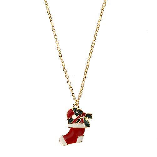 Alushisland Moda Rojo Goteando Aceite Navidad Calcetines Joyería Aleación Suéter Cadena Collar Pendientes Set Regalo