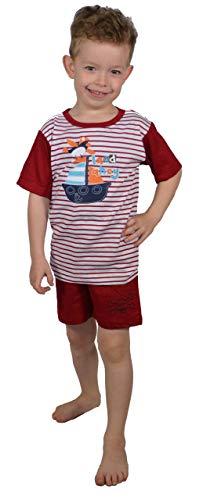 Best Deal Market Jungen Knaben Pyjama Pirat rot-Weiss Gr. 116-122 Schlafanzug Shorty Kurz 100% Baumwolle Schlafanzug mFreizeitkleidung Sportkleidung zu Hause