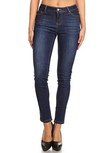 Women's Mid-Rise Basic Stretchy Skinny Denim Jeans Dark Blue Small